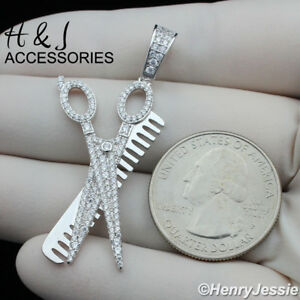 MEN 925 STERLING SILVER ICY DIAMOND BLING COMB SCISSORS PENDANT*ASP224