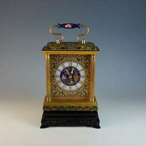 Vintage Champleve Cloisonne Table Alarm Clock with Date and Stand, Serviced