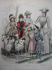"""38/ GRAVURE DE MODE """" Moniteur de la Mode Paris 1891 """".   Grand format 36x26"""