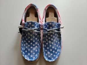 Hey Dude Wally Patriotic Shoes SOLD OUT! RARE! STARS N STRIPES! USA! NWB! 2021
