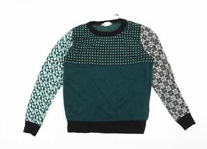 Cooperative Womens Green Geometric  Pullover Jumper Size XS