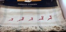 Reindeer Table Runner New 16X90 Burgundy Sage Green Fringe Christmas T O'Brien