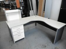 OFFICE 1800MM WHITE / GREY CORNER DESK WITH DRAWERS BRISBANE