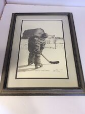 Bernie Brown Original Pencil Print Hockey Practice Makes Perfect Signed Limited