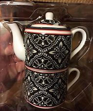 Vera Bradley Tea for One set NEW IN BOX Barcelona cup saucer tea pot coffee
