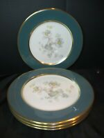 "Flintridge Anemone Teal Green Gold Trim 5 Dinner Plates 10 5/8"" Scarce Design"