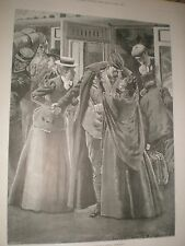 Back from the War scene at a London Terminus by Lucien Davis 1901 print ref AY