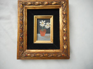 American Folk Primitive Art Artist MIKE FALCO Original Oil Painting - DAISY
