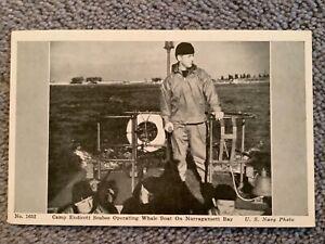 Vintage Postcard of Camp Endicott Seabee Operating Boat on Narragansett Bay, RI