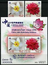 Laos LAO 2008 China Flower Frangipani Peony 2119-20 Block 213 a MNH