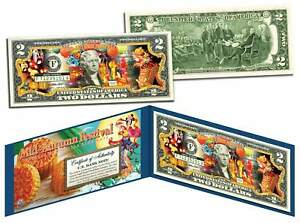 Chinese & Vietnamese 2015 MID AUTUMN FESTIVAL Colorized U.S. $2 Bill Lucky Money