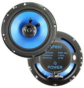 "QPower 6.5"" 300 Watt 2-Way Blue Car Audio Stereo Coaxial Speakers | QP650 (2)"