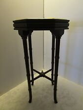 Plant Stand Mahogany Wood brass top 8 sided & finial Home Office Table Décor Vtg