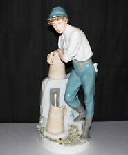 "1940's Royal Dux Large 23"" Porcelain Bohemia Boy at Well Fountain Figurine"