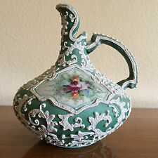 Stunning Moriage Pitcher Unmarked, Looks Nippon, Vivid Colors, Classic Style