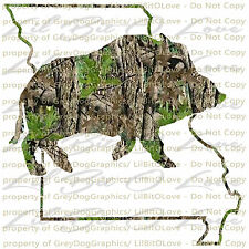 Camo Hog Boar Missouri State Outline Hunter Vinyl Decal Sticker Hunting Prairie