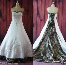 Camo Wedding Dresses Bridal Gowns A-Line Embroidery Camouflage Satin Gown Custom