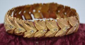 Vintage 18k Solid Gold & Spinel Middle East Handmade Chased Panel Bracelet