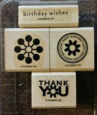 Stampin' Up WOW FLOWERS Set of 4 Wood Mounted Rubber Stamps Lot Birthday Flower