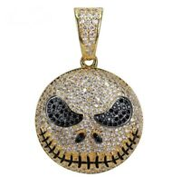 3.00 CT Round Black and White Diamond Emoji Charm Pendant 14K Yellow Gold Over
