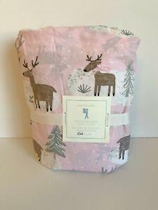 POTTERY BARN KIDS Winter Reindeer Full Size Duvet Cover Pink Gray White NWT