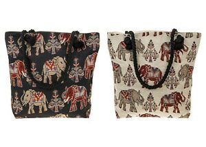 Large Equilibrium Tapestry Elephants Tote Bag Cotton Shopper Shopping Holdall
