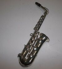 "Vintage Silver Plated SAXOPHONE Christmas Ornament 6.5"" Alto Sax"