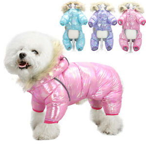 Waterproof Dog Jumpsuit Warm Lined Coat Jacket Hoodie With Fur Collar Reflective