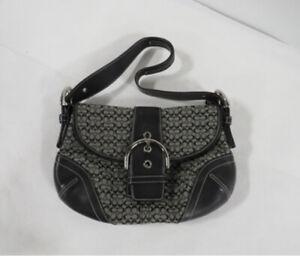 BRAND NEW COACH E04J-6818 Black Leather Signature Canvas Soho Handbag Purse Sm