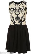 Topshop UK 8 Black Tiger Face Skater Dress with Flippy Skirt