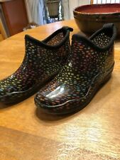 Corkys Womens 7 Black Rubber MultiColored Polka Dot 'Stormy' Rain Ankle Booties