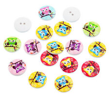 """Lot of 10 OWL 2-hole 3/4"""" (20mm) Wooden Buttons Scrapbooking Craft (8548)"""