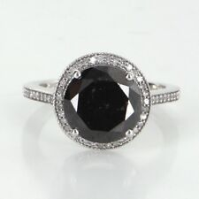 5ct Black Diamond Halo Engagement Ring Estate 10k White Gold Jewelry Vintage
