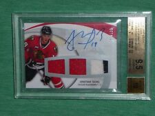 2007-08 UD Sweet Shot Jonathan Toews 1/100 Auto 3CLR Jersey BGS 9.5 *First 1/1 *