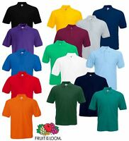 Fruit of the Loom Plain Cotton Mens Polo Shirts T-Shirt Short Sleeve Tshirt