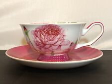 Stechcol Gracie Bone China Footed Tea Cup & Saucer Pink Roses gold dots