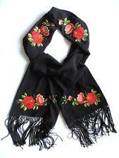 ELEGANT SCARF/SHAWL WITH embroidered red roses POLISH FOLK ART Handmade