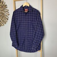 R.M. Williams Size M Blue Plaid Long Sleeve Shirt As New 100% Cotton R.M. Men's