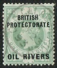 Oil Rivers 1893 SG6 1/- Green Very Fine Used OLD CALABAR RIVER CDS
