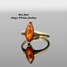 9CT GOLD RING LOVELY AMBER MARQUISE DESIGN NICE QUALITY VINTAGE JEWELLERY