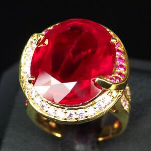 RUBY BLOOD RED OVAL 21.10 CT. SAPP 925 STERLING SILVER GOLD RING SZ 6.5 JEWELRY