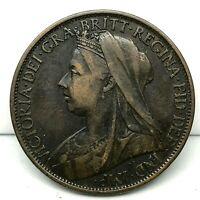 1898 GREAT BRITAIN VICTORIA ONE PENNY BRONZE  SCARCE HIGH GRADE COIN.KM#790.