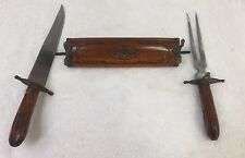 Antique Indian Knife Set Holder, Knife and Fork. Wooden Antique Decorated Cover