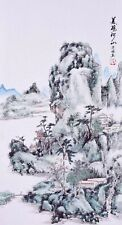 100% ORIENTAL ASIAN FINE ART CHINESE SANSUI WATERCOLOR PAINTING-Mountains view