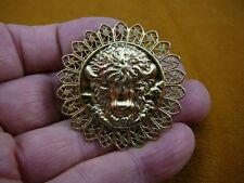 (B-BUFF-107) Buffalo head I love buffaloes round filigree brass Pin Pendant