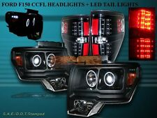2009-2013 FORD F150 2 HALO CCFL LED PROJECTOR HEADLIGHTS + LED TAIL LIGHTS BLACK