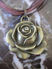 Bronze Rose Brown Organza Ribbon Necklace-Boho Hippie