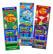 PHINEAS AND FERB & BIRTHDAY PARTY INVITATION TICKET 1ST -c1 photo INVITE CARD