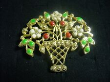 Vintage White Green Red Enamel Goldtone Metal Filagree Flower Basket Brooch Pin
