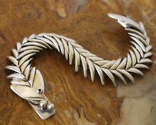 Vtg Taxco De Molina Mexico Sterling Silver Fish & Bones Bracelet 70 Grams 7.5 In